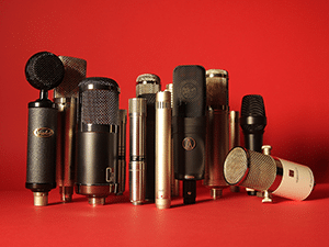 An assortment of different microphones for recording vocals