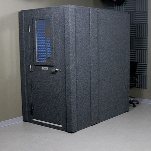 A WhisperRoom MDL 4260 shown with the door closed from the outside of the sound booth.