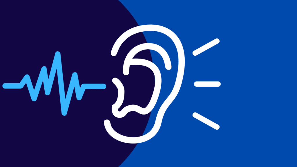image of a soundwave entering an ear.