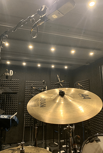 A look from behind the drums inside of a WhisperRoom drumming booth.