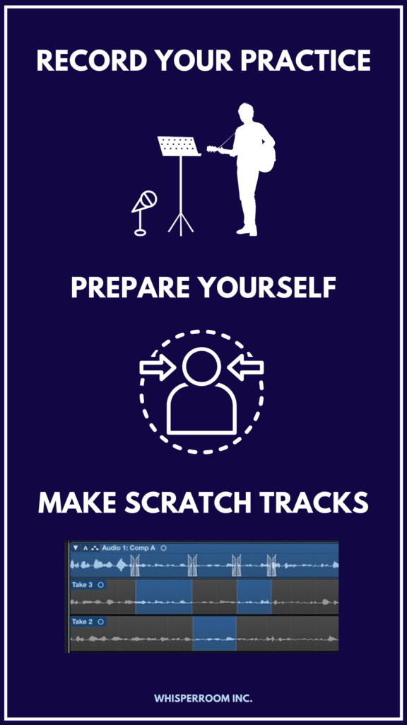 An info graph explaining ways to overcome studio anxiety when recording