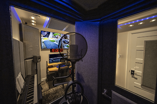 An interior look out the windows of a WhisperRoom vocal booth.