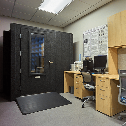 A WhisperRoom testing booth with an ADA package is set up inside of MTSU's psychology department.